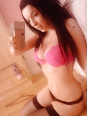 Busty UK teen self-shooting in lingerie at home