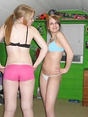 Amateur teens get naughty and pose in their underwear